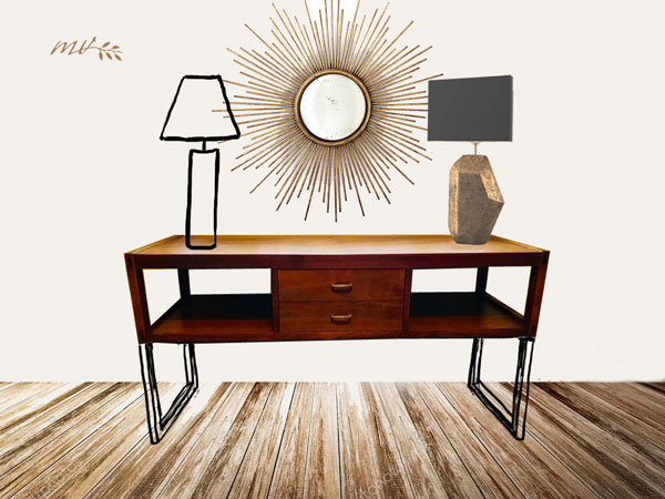 Repurposed coffee table, entry table