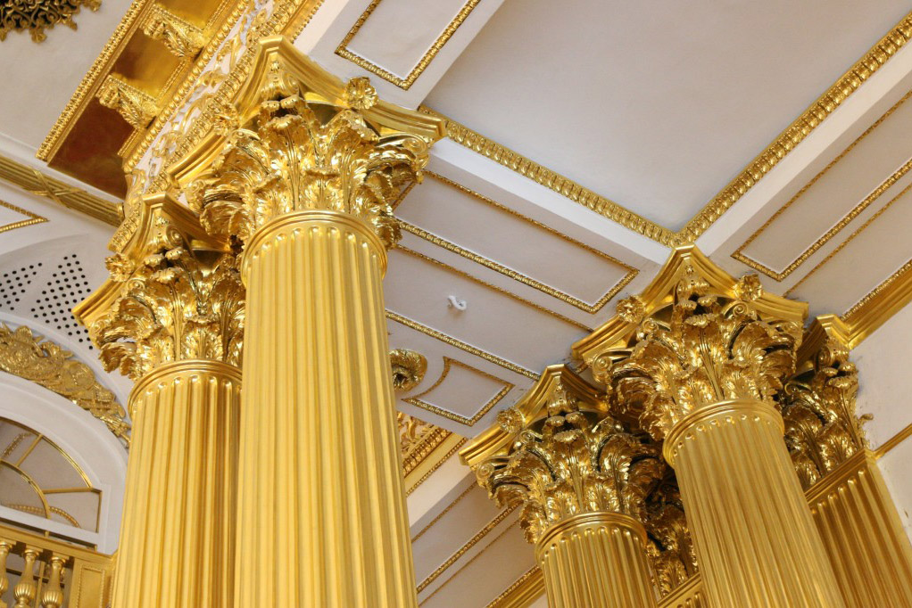 Gold Gilt Russian Palace ColumnsGold Gilt Russian Palace Columns, Interior Design Inspiration Image on Summer Thornton Design
