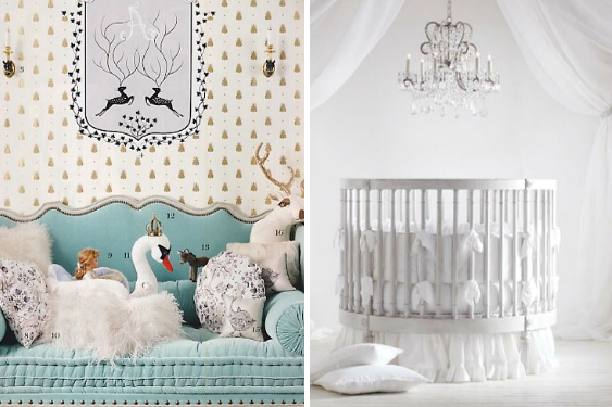 Royal baby nursery ideas with blue sofa, stuffed animals and chandelier over crib. Princess Baby Charlotte Interior Design Inspiration image on Summer Thornton Design website.