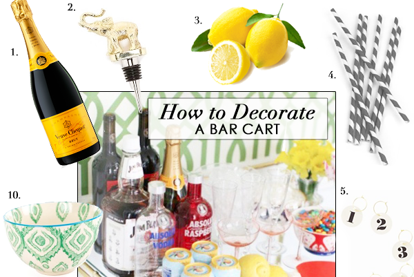 How To Decorate a Bar Cart, Styling, Summer Thornton Design Blog