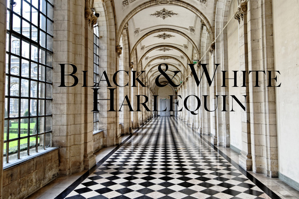 black and white harlequin tile floor in palace