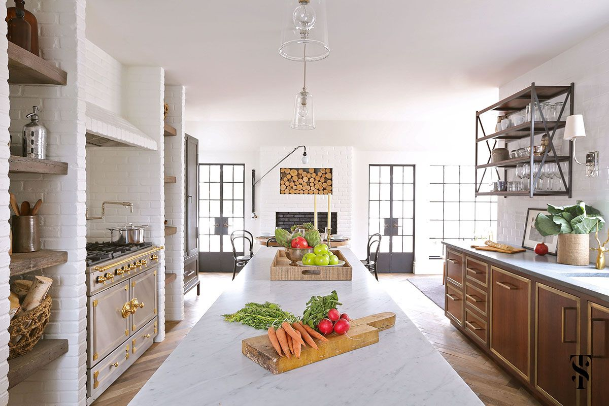 Country Club Tudor, Kitchen Island With Marble Top, Painted Brick, La Cornue Range, Steel Frame Windows, Interior Design By Summer Thornton Design