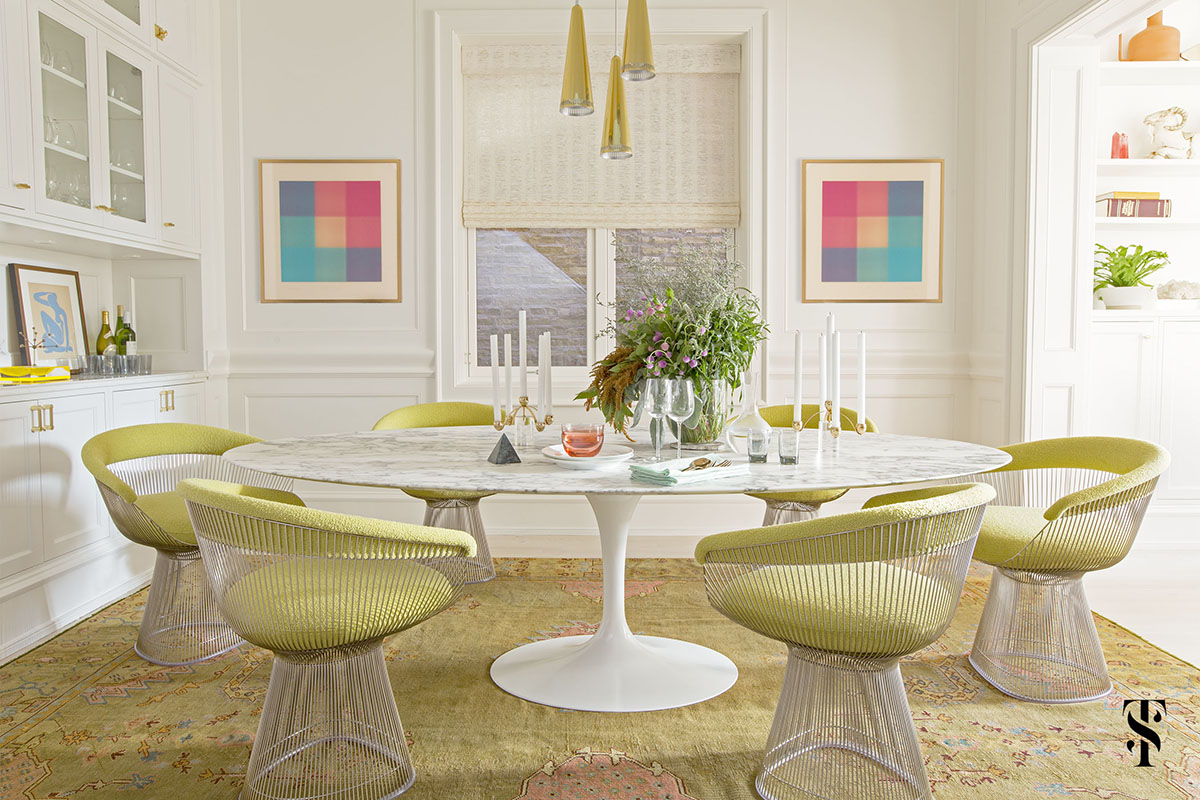 Lincoln Park Modern, Dining Room, Saarinen Table, Knoll Chartreuse Planter Chair, Vintage Rug, Modern Art, Brass Chandelier, Interior Design by Summer Thornton Design