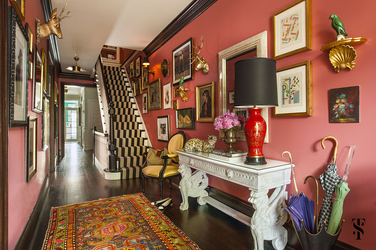 Lincoln Park Vintage, Pink Foyer With Gallery Wall, Umbrella Stand, Interior Design by Summer Thornton Design