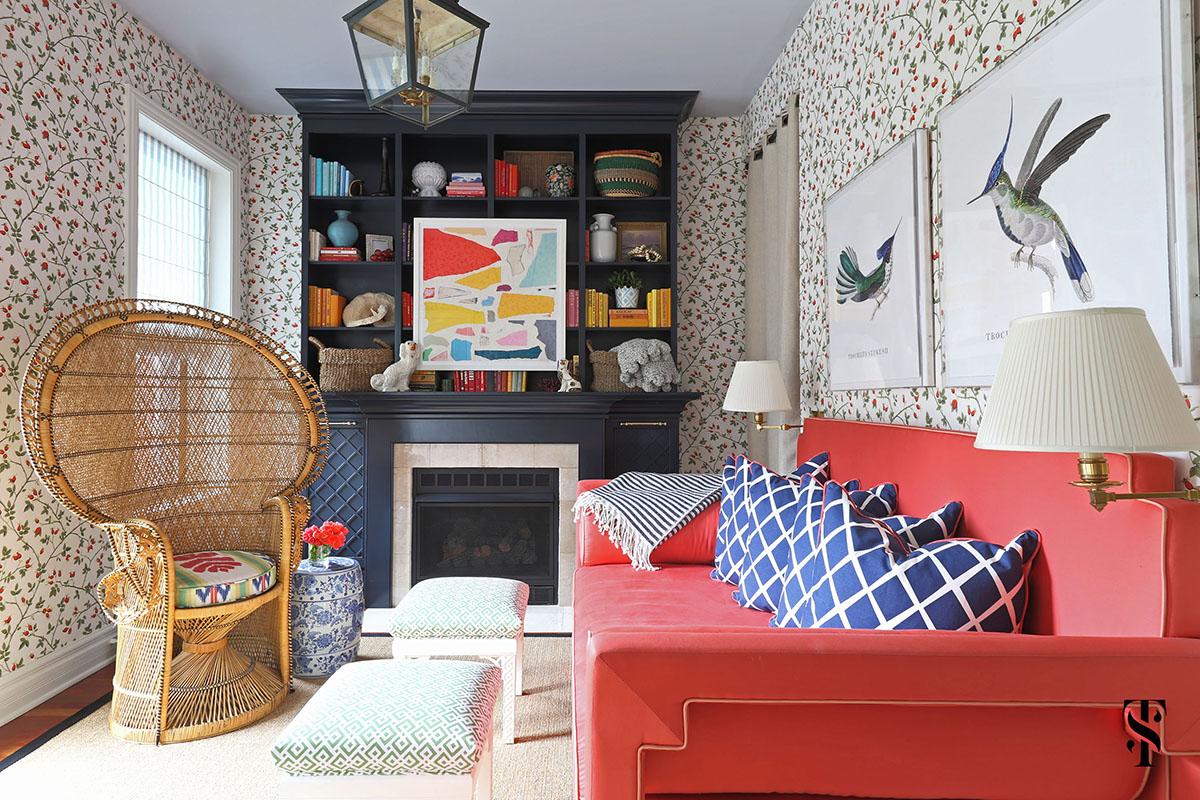ld Town Chicago, Office, Pink Sofa, Interior Design by Summer Thornton Design