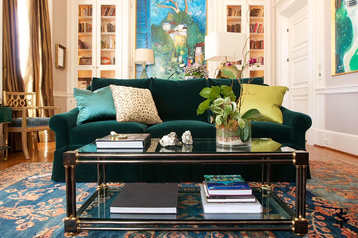 Tuxedo Road Atlanta, Green Velvet Sofa, Interior Design by Summer Thornton Design