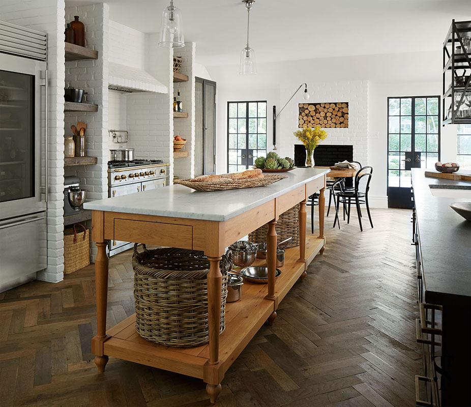 Country Club Tudor, Kitchen, Wood Kitchen Island With Marble Top, Steel Frame Windows, Interior Design By Summer Thornton Design