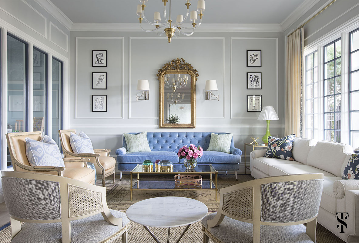 Chic Dental Office Lounge, Blue Sofa In Front Of French Gilt Mirror, Drapery Panels With Greek Trim, Interior Design by Summer Thornton Design