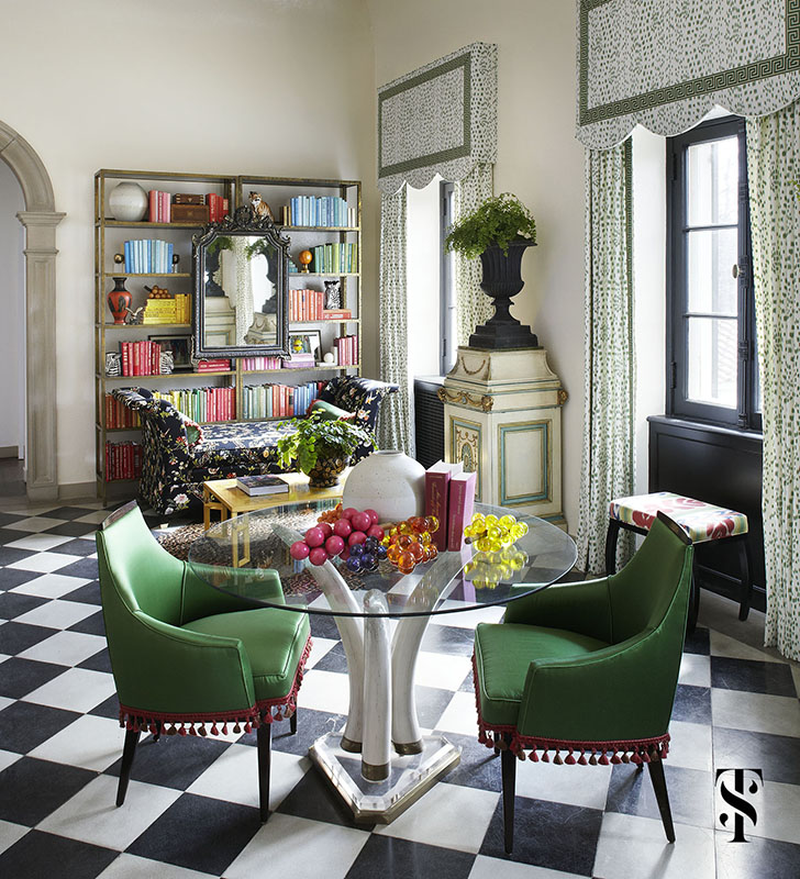 Lake Forest Show House, Book Shelves Styled, Les Touches Drapery, Yellow Coffee Table, Black And White Floors, Interior Design by Summer Thornton Design