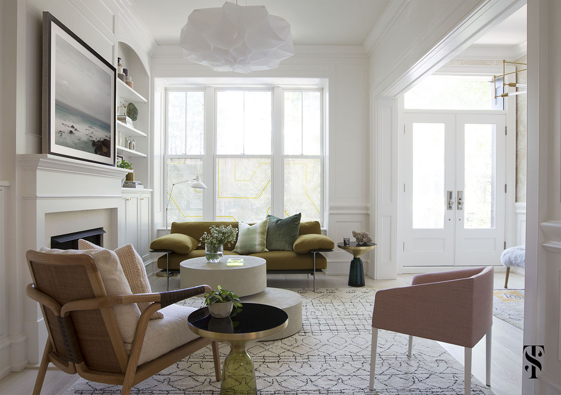 Lincoln Park Modern, White Living Room, Green Modern Sofa, White Pivot Coffee Table, Moroccan Rug, Ocean Photography, Window Privacy Decals, Interior Design by Summer Thornton Design