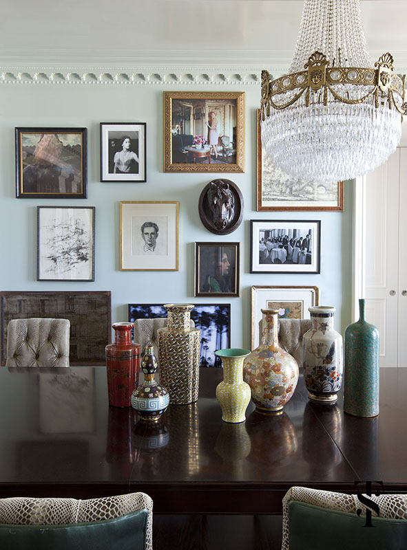 Palmolive Penthouse, Dining Room, Gallery Wall, Interior Design by Summer Thornton Design