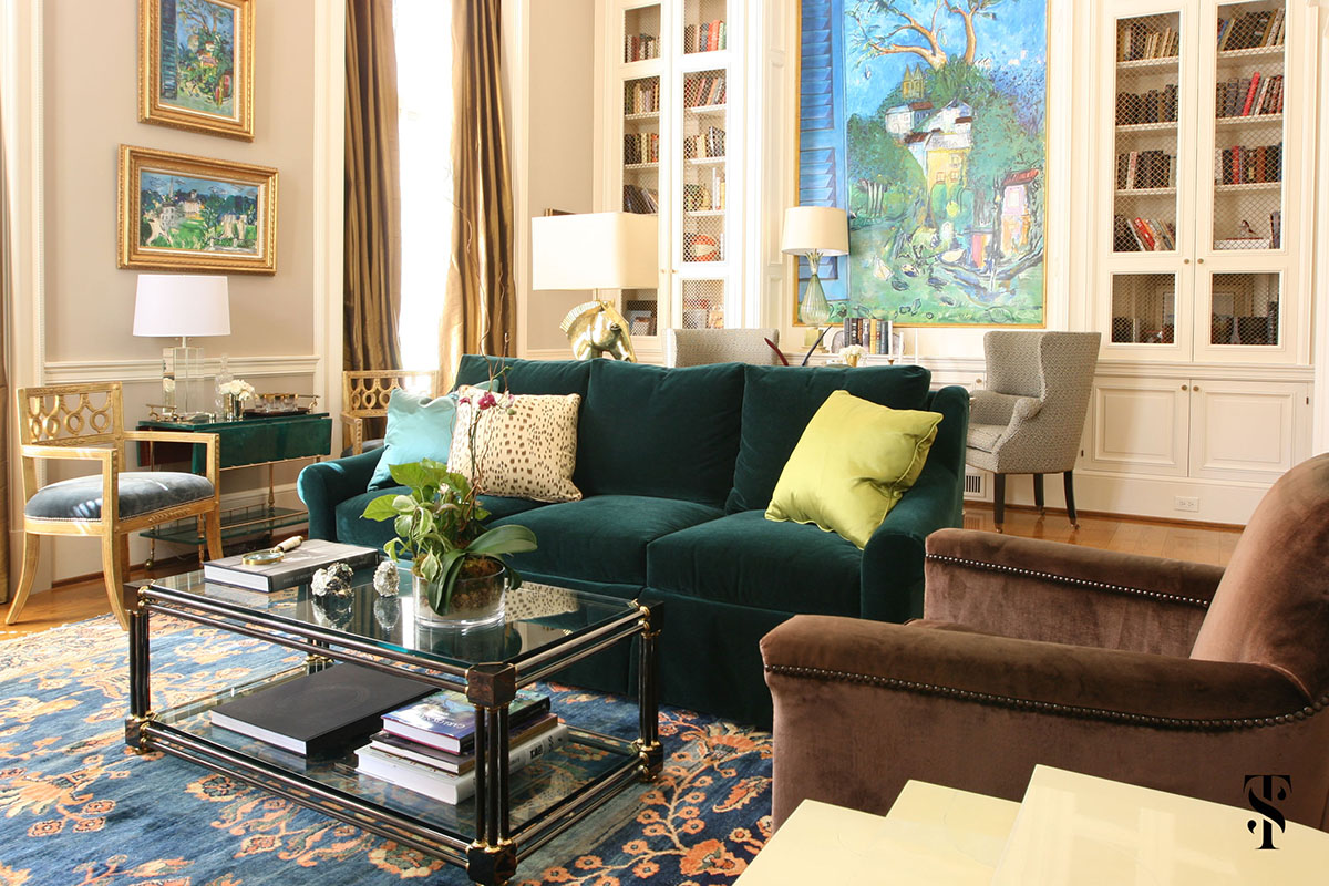 Tuxedo Road Atlanta, Green Velvet Sofa, Interior Design by Summer Thornton Design