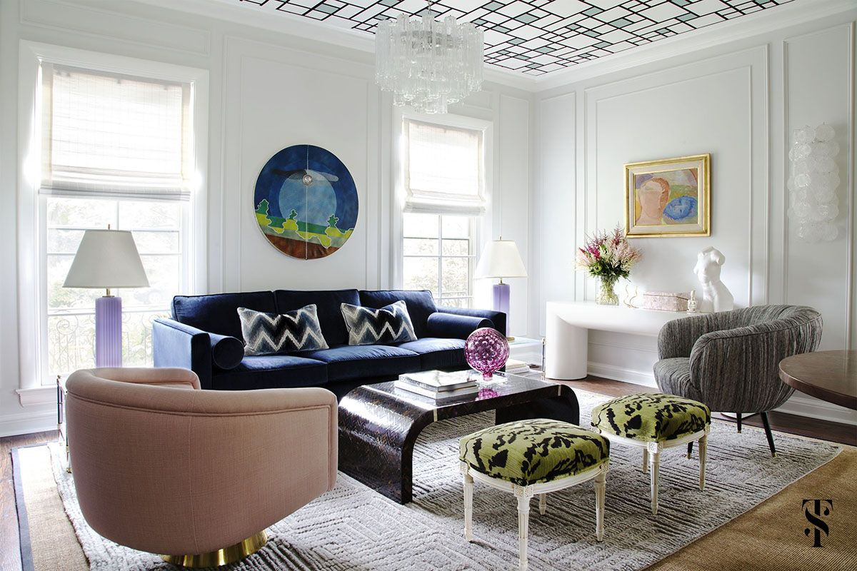 Wilmette Historical Home, Wallpaper Ceiling, Interior Design by Summer Thornton Design