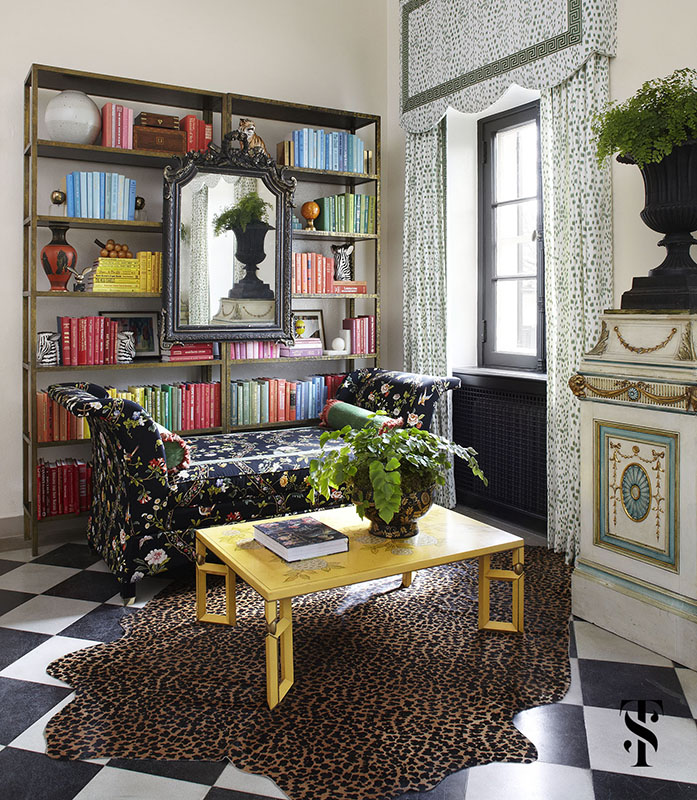 Lake Forest Show House, Book Shelves Styled, Les Touches Drapery, Yellow Coffee Table, Interior Design by Summer Thornton Design