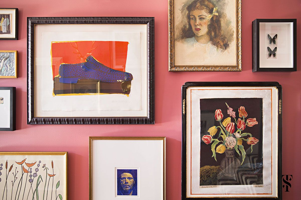 Lincoln Park Vintage, Pink Foyer With Gallery Wall, Interior Design by Summer Thornton Design