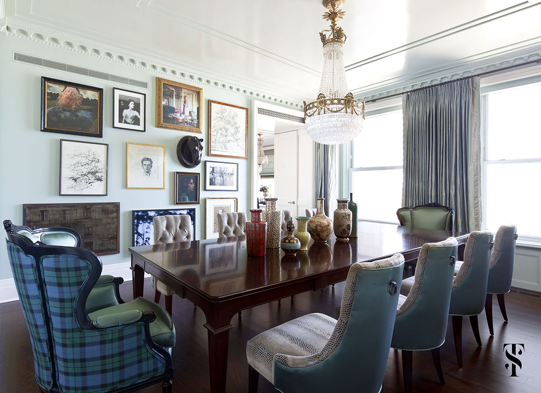 Palmolive Penthouse, Dining Room, Tartan, Gallery Wall, Interior Design by Summer Thornton Design