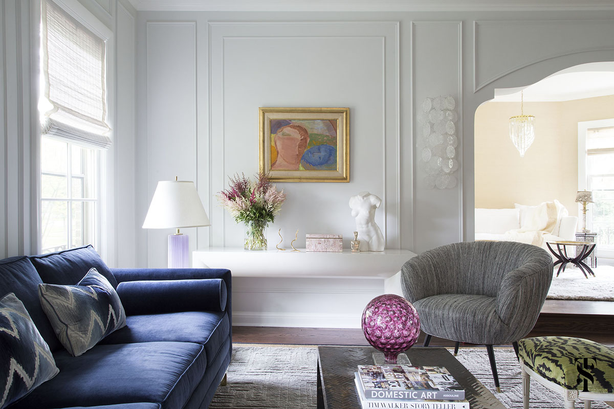 Wilmette Historical Home, Blue Sofa, Interior Design by Summer Thornton Design