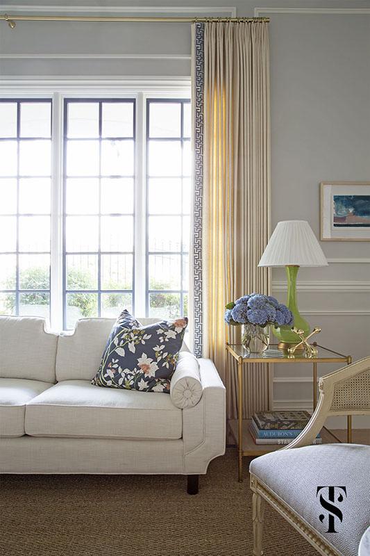 Chic Dental Office Lounge, Drapery Panels With Greek Trim, Interior Design by Summer Thornton Design