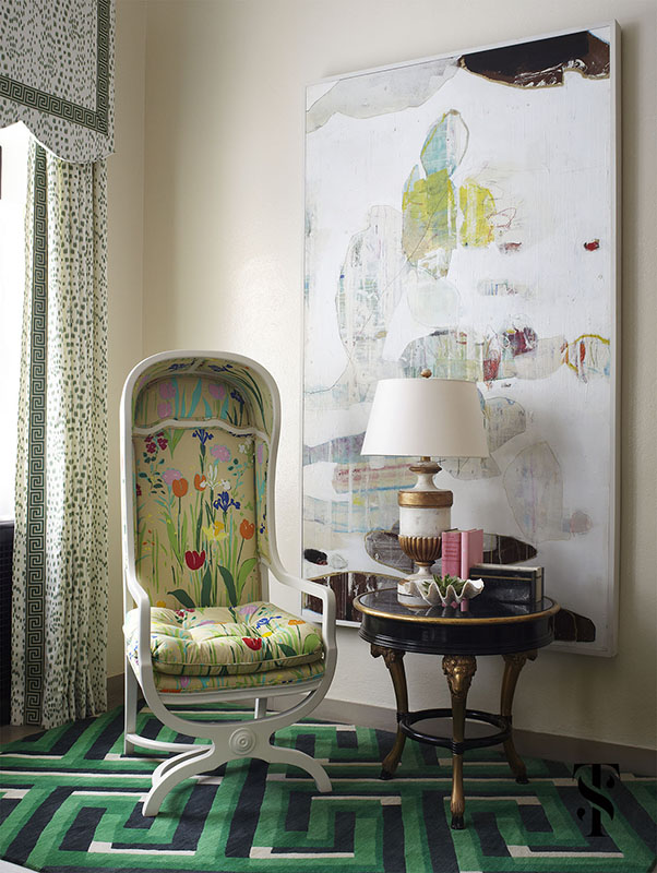 Lake Forest Show House, Les Touches Drapery, Chair With Floral Fabric, Interior Design by Summer Thornton Design