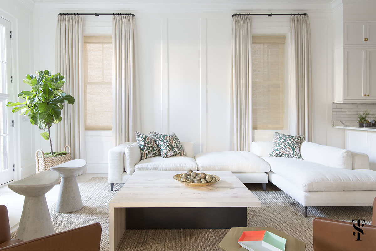 Lincoln Park Modern, White Neutral Family Room, White Sectional, Roman Shades With Drapes, Fiddle Leaf Tree, Interior Design by Summer Thornton Design