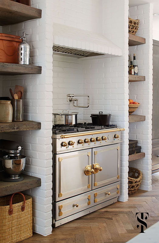 Country Club Tudor, Kitchen White Painted Brick Open Wood Shelves, La Cornue Range, Interior Design by Summer Thornton Design