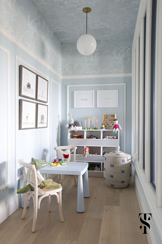 Chic Dental Office Kid's Playroom, Blue Walls With Wallpapered Ceiling, Animal Artwork, Interior Design by Summer Thornton Design