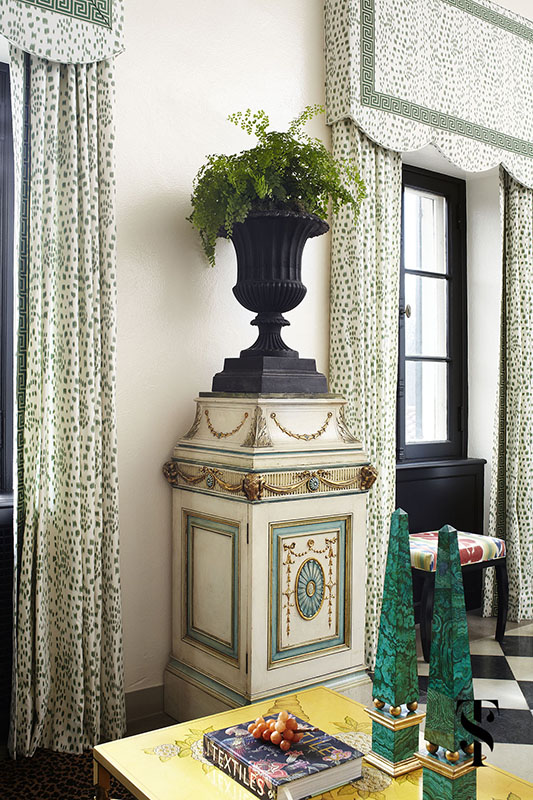 Lake Forest Show House, Les Touches Drapery, Urn With Fern, Interior Design by Summer Thornton Design