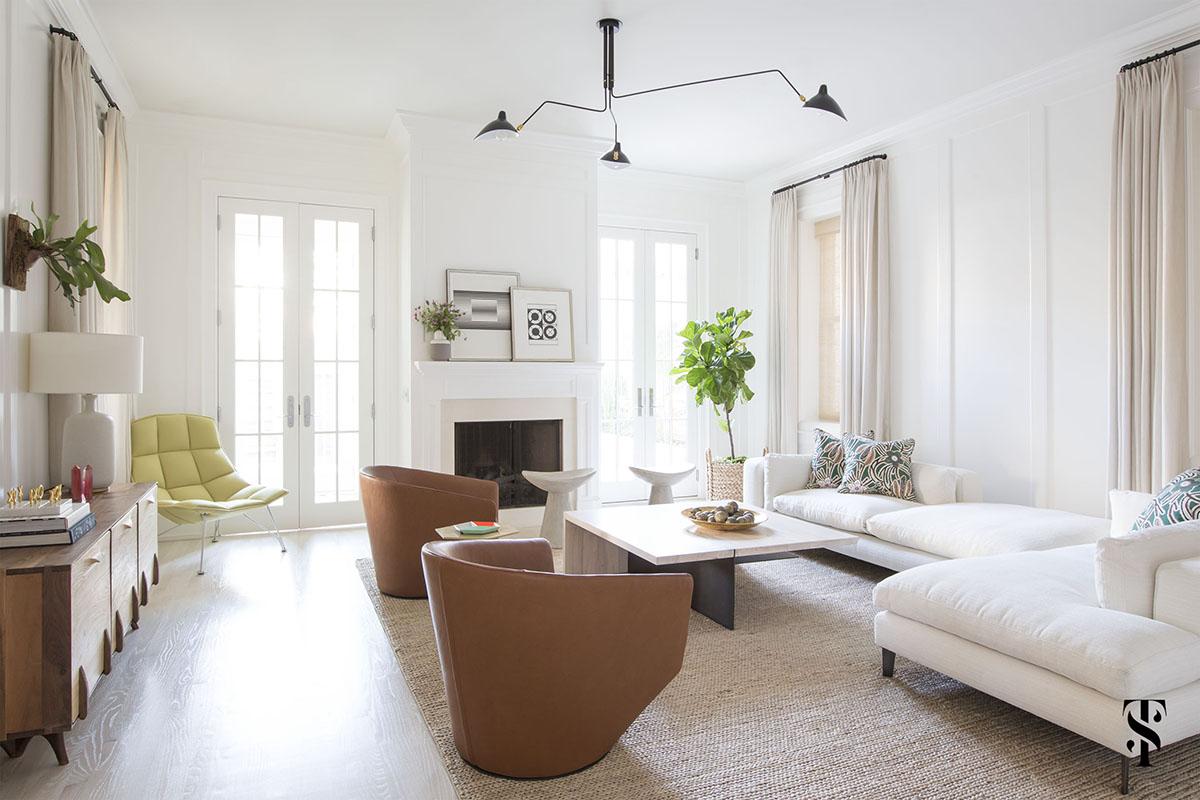 Lincoln Park Modern, Family Room, Mouille Chandelier, Fiddle Leaf Tree, Modern Chandelier, Interior Design by Summer Thornton Design