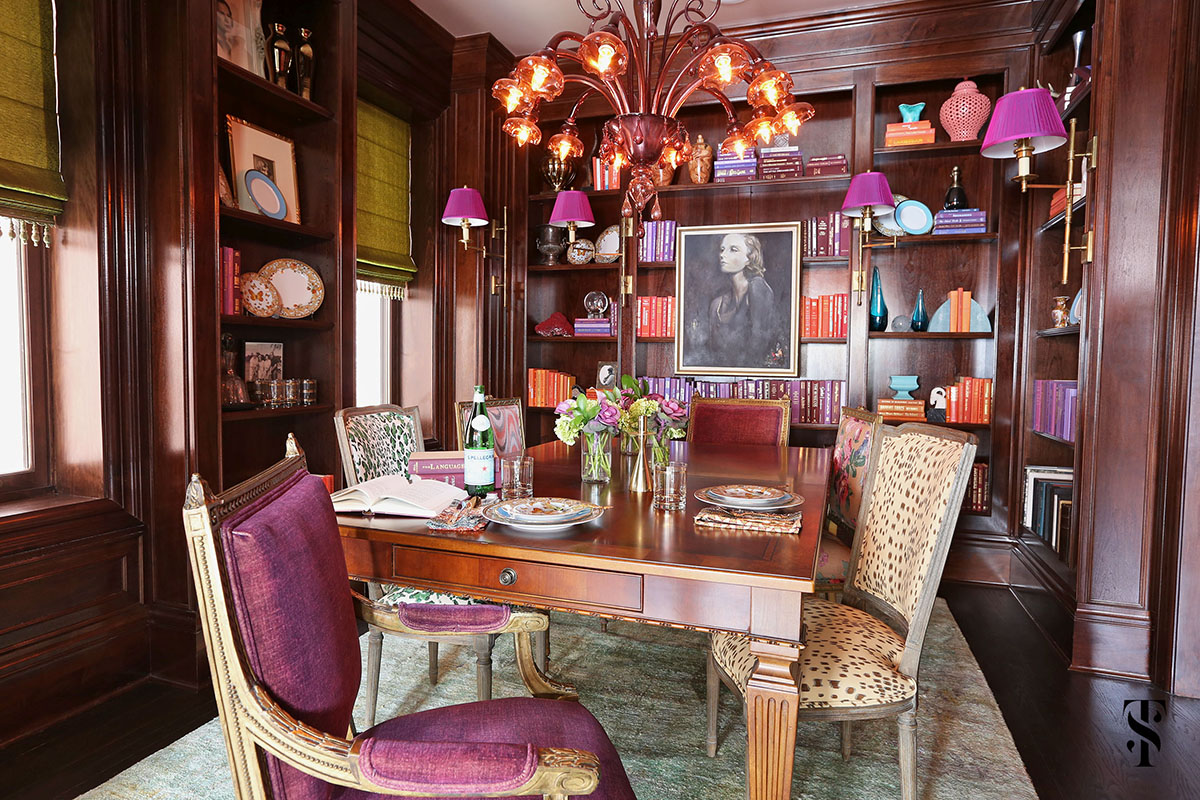 Lincoln Park Vintage, Dining Room With Purple Accents And Wood Paneling, Interior Design by Summer Thornton Design
