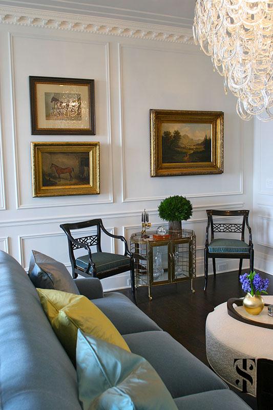 Palmolive Penthouse, Living Room, Bar Cart, Interior Design by Summer Thornton Design