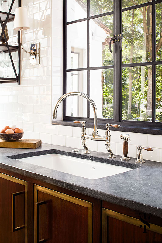 Country Club Tudor, Kitchen Steel Frame Windows, Wood Handle Faucet,  Wood Cabinets, Interior Design by Summer Thornton Design