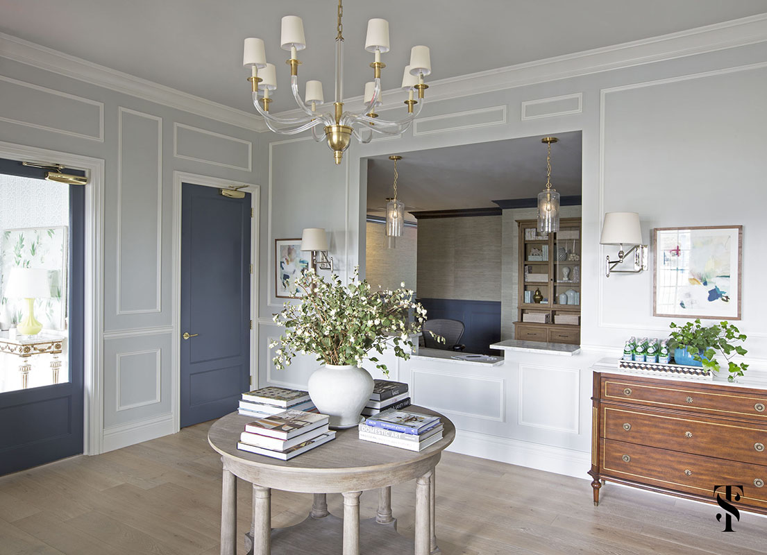 Chic Dental Office Reception Area, Blue Doors, Interior Design by Summer Thornton Design