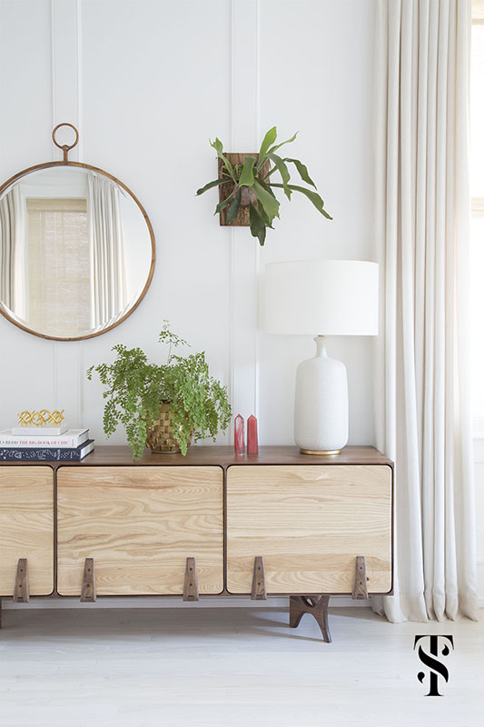 Lincoln Park Modern, Family Room, Wood Console Table, Circle Mirror, Interior Design by Summer Thornton Design