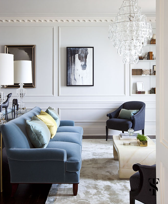 Palmolive Penthouse, Living Room, Interior Design by Summer Thornton Design