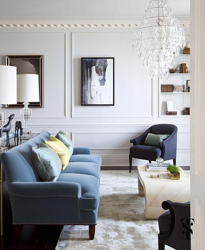 Palmolive Penthouse, Living Room, Interior Design by Summer Thornton Design