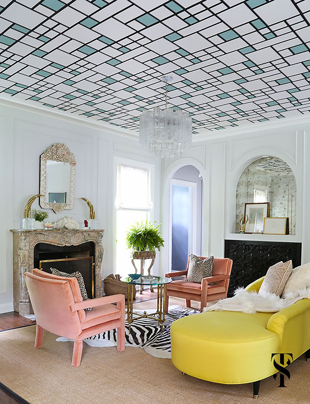 Wilmette Historical Home, Living Room With Graphic Wallpaper Ceiling, Yellow Sofa, Interior Design by Summer Thornton Design