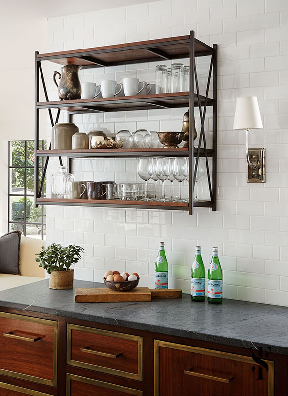 Country Club Tudor, Kitchen Open Shelving, Wood Cabinets, Interior Design by Summer Thornton Design