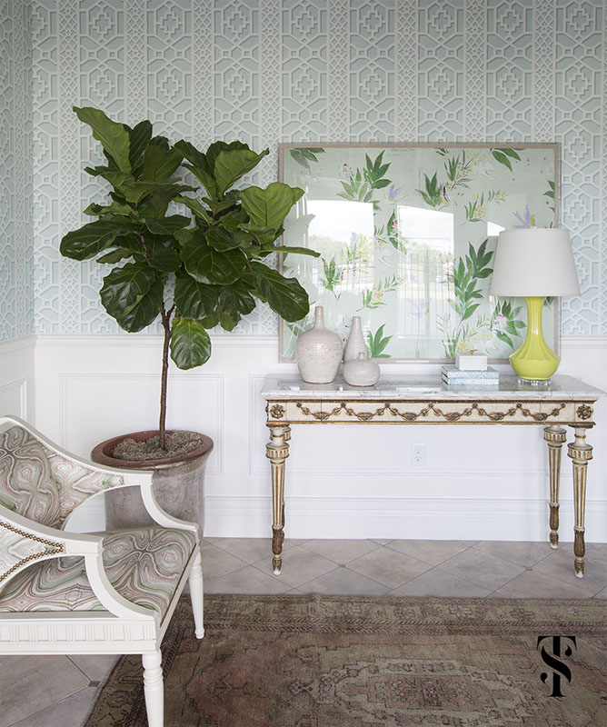 Chic Dental Office Foyer, Trellis Wallpaper, French Console Table, Fig Leaf Tree, Interior Design by Summer Thornton Design