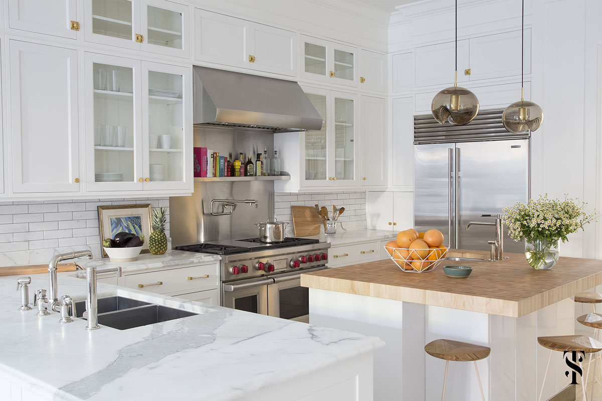Lincoln Park Modern, Kitchen, White Cabinets With Custom Brass Hardware, Custom Island, Stainless Steel Hood, Interior Design by Summer Thornton Design