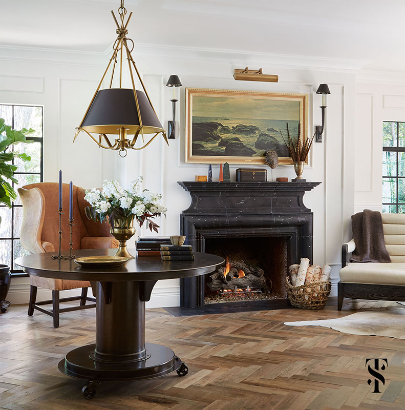 Country Club Tudor, Living Room With Black Marble Fireplace And Wood Herringbone Floor, Interior Design by Summer Thornton Design
