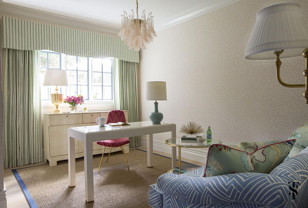 Chic Dental Office Lounge, Mixing Patterns, Dot Wallpaper, Vintage Murano Glass Chandelier, Interior Design by Summer Thornton Design
