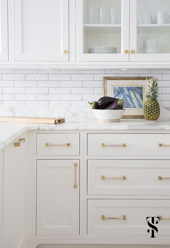 Lincoln Park Modern, Kitchen, White Cabinets And Subway Tile, Custom Brass Hardware, Interior Design by Summer Thornton Design