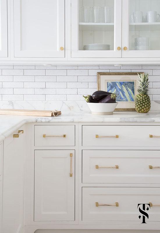 Lincoln Park Modern, Kitchen, White Cabinets And Subway Tile, Custom Brass Hardware, Interior Design by Summer Thornton Design
