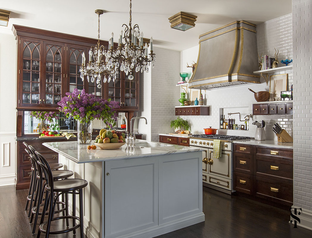Lincoln Park Vintage, Kitchen, Stainless Steel Hood With Brass Accents, Blue Island, Interior Design by Summer Thornton