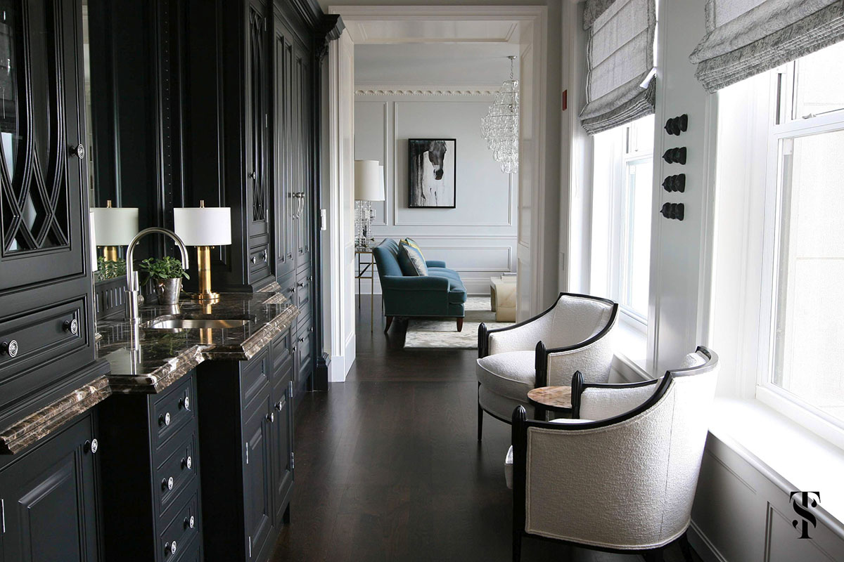 Palmolive Penthouse, Bar, Interior Design by Summer Thornton Design