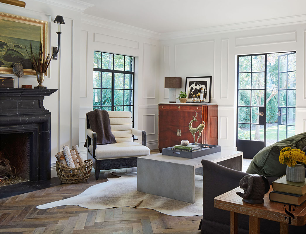 Country Club Tudor, Living Room With Animal Hide On Wood Herringbone Floor, Interior Design by Summer Thornton Design