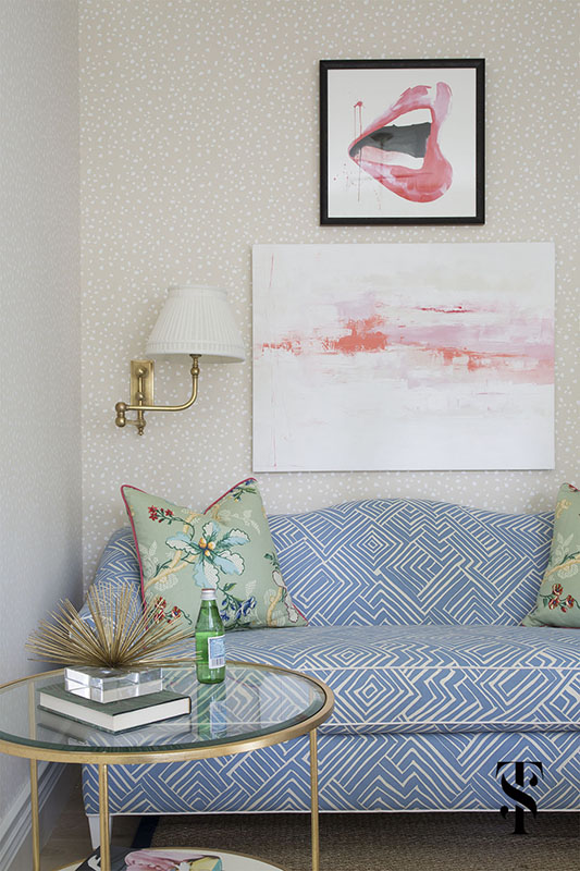 Chic Dental Office Lounge, Mixing Patterns, Dot Wallpaper, Printed Sofa, Abstract Artwork, Interior Design by Summer Thornton Design