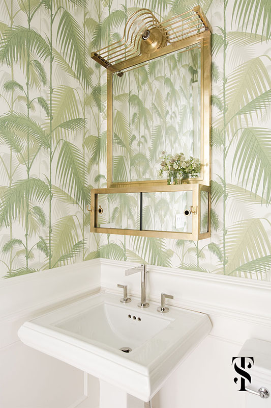 Lincoln Park Modern, Powder Room, Bathroom, Palm Leave Wallpaper With Brass Mirror, Interior Design by Summer Thornton Design