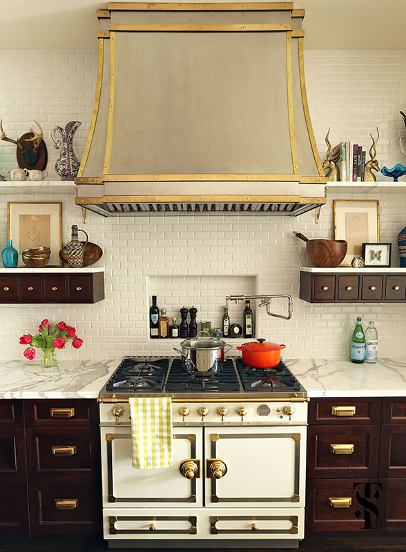 Lincoln Park Vintage, Kitchen, Stainless Steel Hood With Brass Accents With White Range, Interior Design by Summer Thornton Design