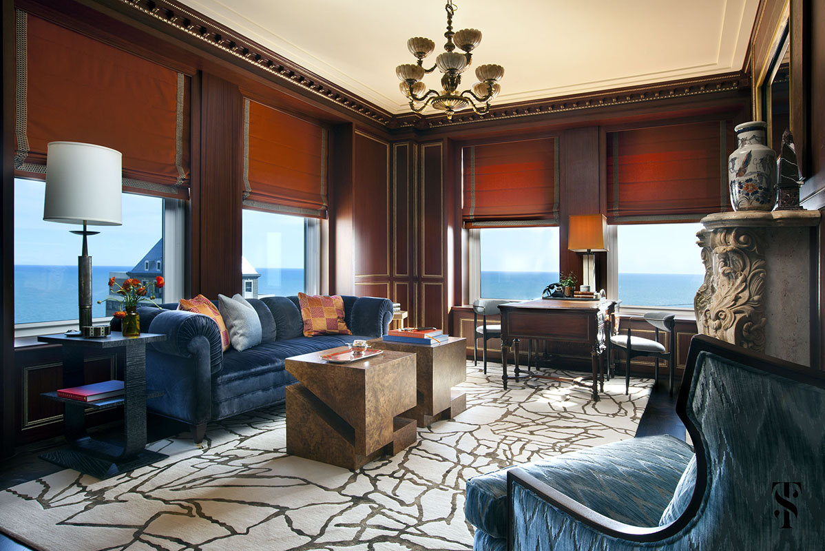 Palmolive Penthouse, Den, Orange, Interior Design by Summer Thornton Design